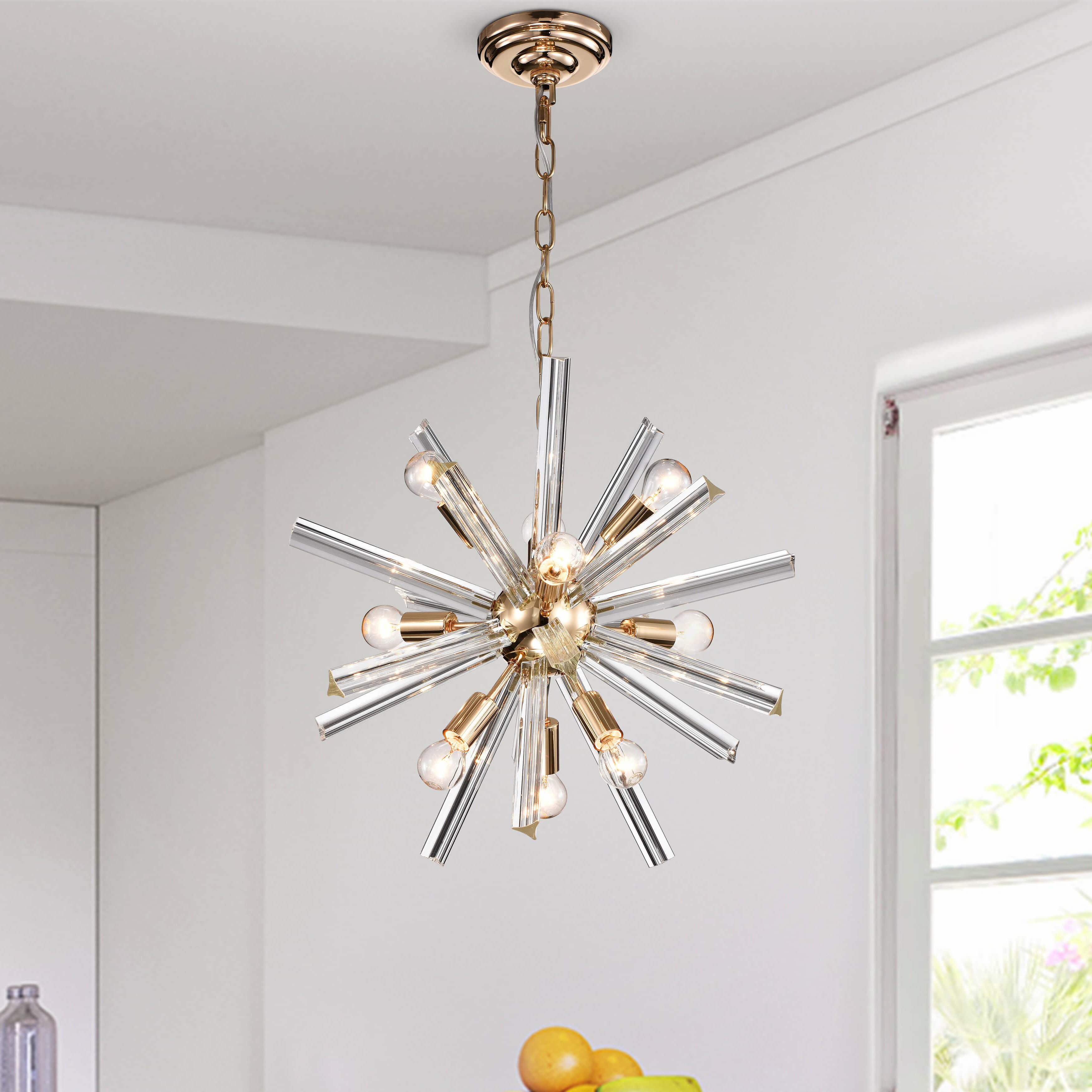 Most Up To Date Corona 12 Light Sputnik Chandeliers In Gwinnett Glass Bar 9 Light Sputnik Chandelier (View 17 of 20)