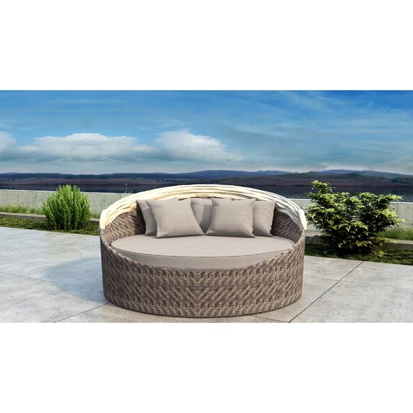 Most Up To Date Gillham Patio Daybed With Sunbrella Cushion Within Grosvenor Bamboo Patio Daybeds With Cushions (View 14 of 20)