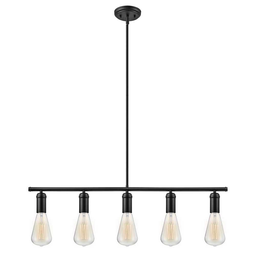 Most Up To Date Globe Electric Chromeo 5 Light Matte Black Linear Pendant Within Novogratz Vintage 5 Light Kitchen Island Bulb Pendants (Gallery 3 of 20)