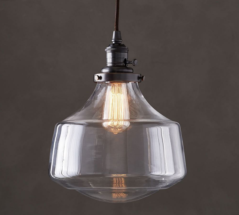 Most Up To Date Goldie 1 Light Single Bell Pendants Regarding Pb Classic Schoolhouse Cord Pendant – Clear Glass In  (View 14 of 20)