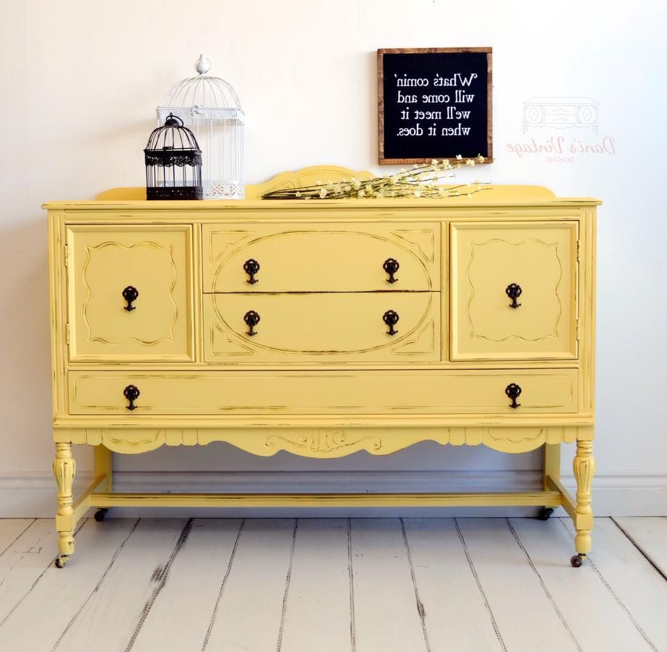 Most Up To Date I Love This Vibrantly Painted Yellow / Mustard Antique For Joyner Sideboards (View 14 of 20)
