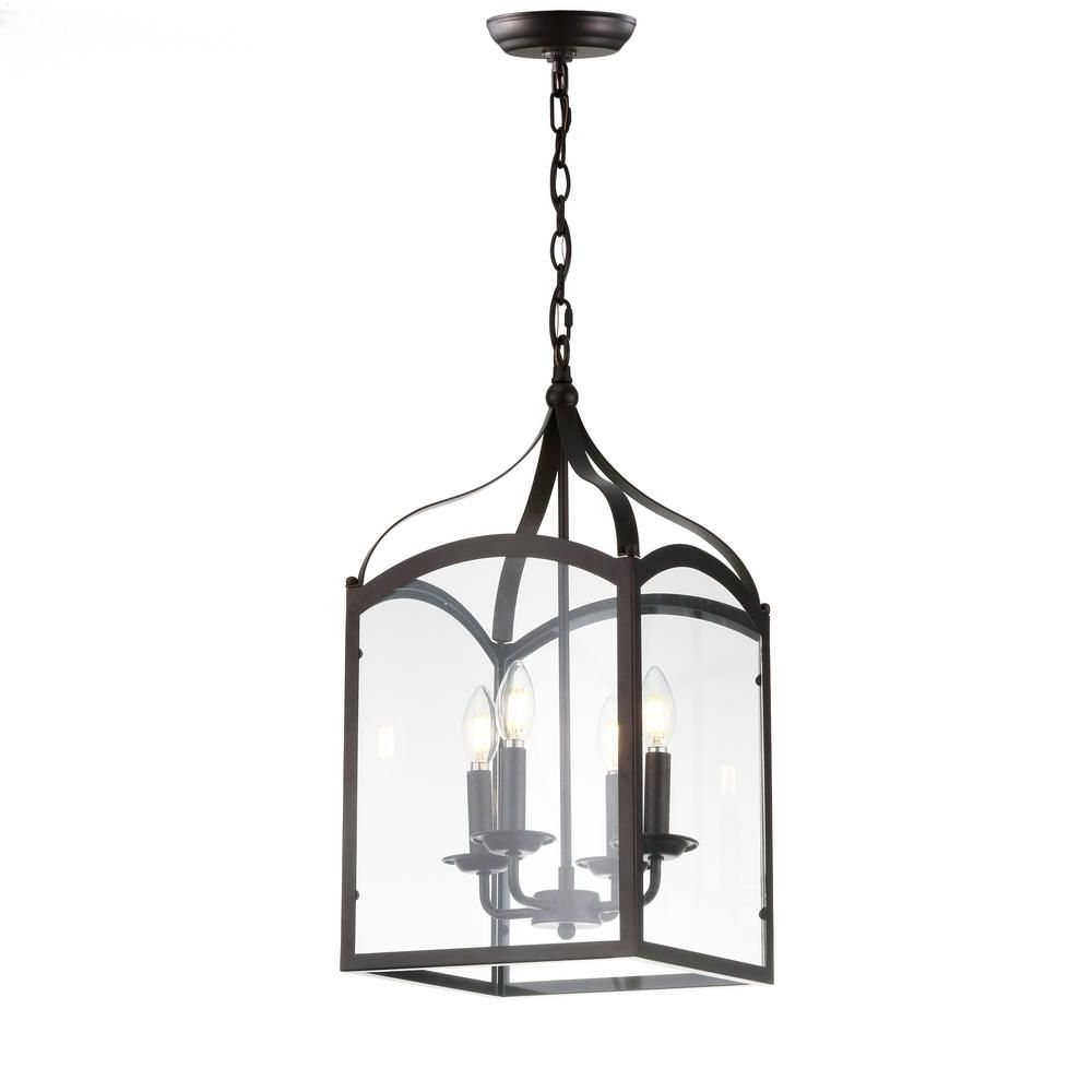Most Up To Date Jonathan Y Ruth 11 In. 4 Light Oil Rubbed Bronze Lantern Regarding Varnum 4 Light Lantern Pendants (Gallery 13 of 20)