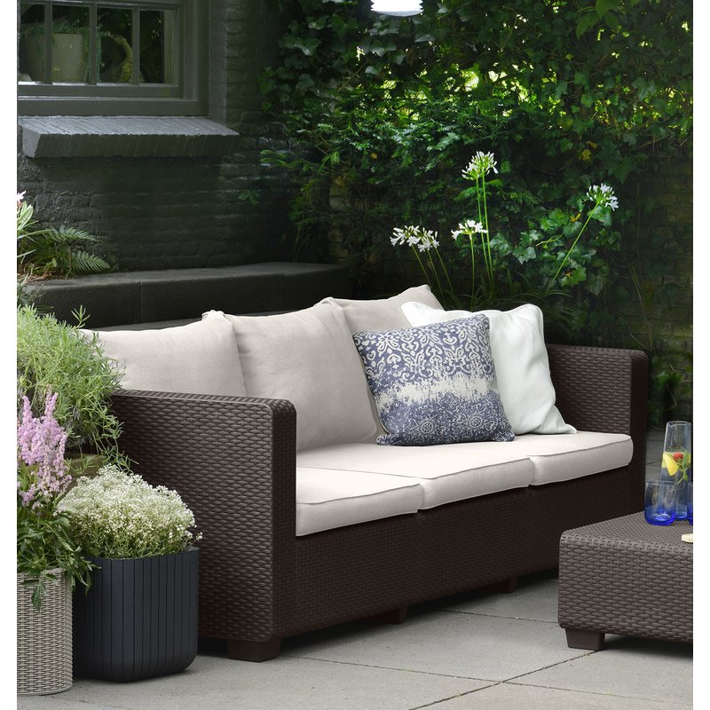 Most Up To Date Katzer Patio Sofas With Cushions For Halloran Patio Sofa With Sunbrella Cushions (View 13 of 20)