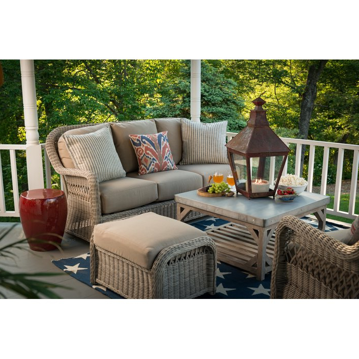 Most Up To Date Keever Patio Sofas With Sunbrella Cushions Inside Washtenaw Patio Sofa With Cushions (View 8 of 20)