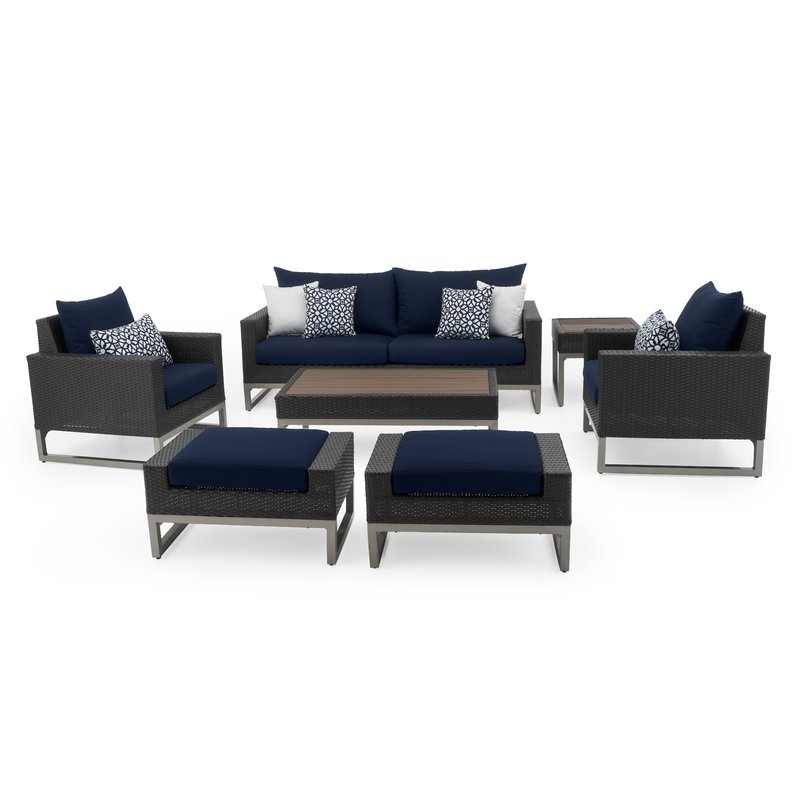 Most Up To Date Kunz Loveseats With Cushions Inside Minor 7 Piece Rattan Sunbrella Sofa Set With Cushions (View 12 of 20)
