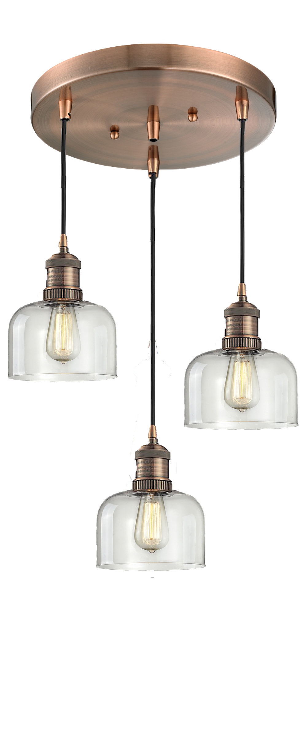 Most Up To Date Milbourn Glass Bell 3 Light Pendant With Regard To Vernice 3 Light Cluster Bell Pendants (Gallery 7 of 20)