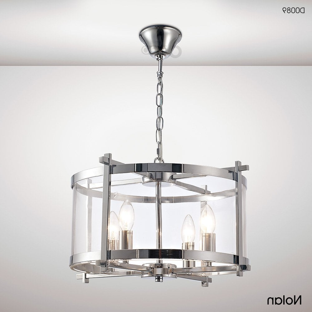 Most Up To Date Nolan Lantern 4 Light Medium Ceiling Pendant In Polished Chrome Finish With  Clear Glass Within Nolan 1 Light Lantern Chandeliers (View 12 of 20)