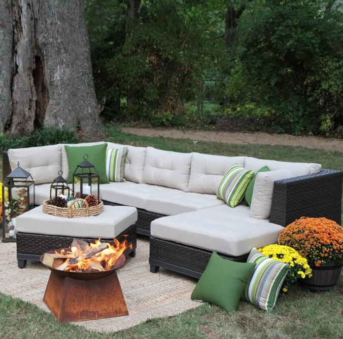 Most Up To Date Patio Sofas With Cushions Within Madison Avenue Patio Sectional With Sunbrella Cushions (View 9 of 20)