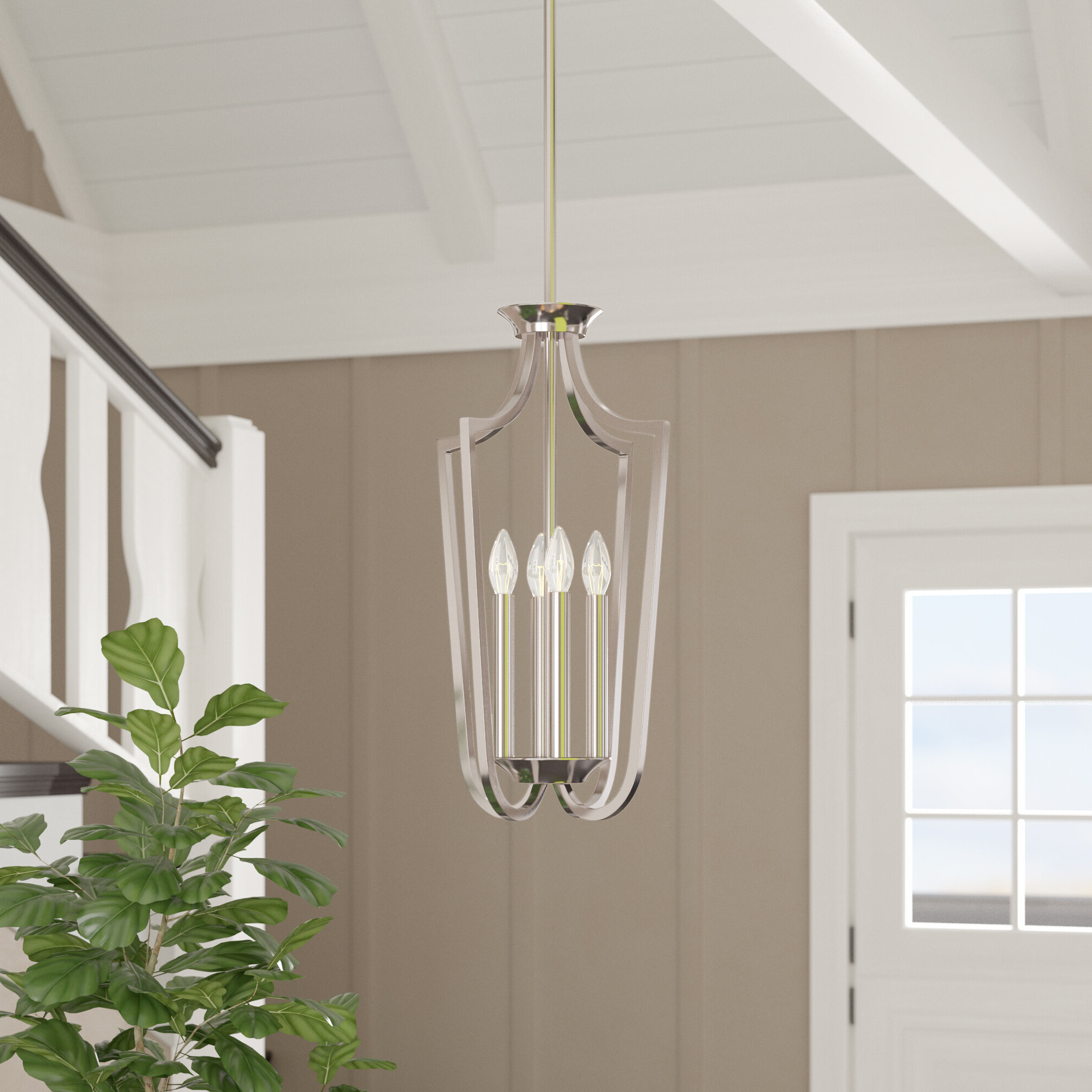 Most Up To Date Robblee 4 Light Geometric Pendants With Gracie Oaks Dumbarton 4 Light Foyer Pendant (View 8 of 20)
