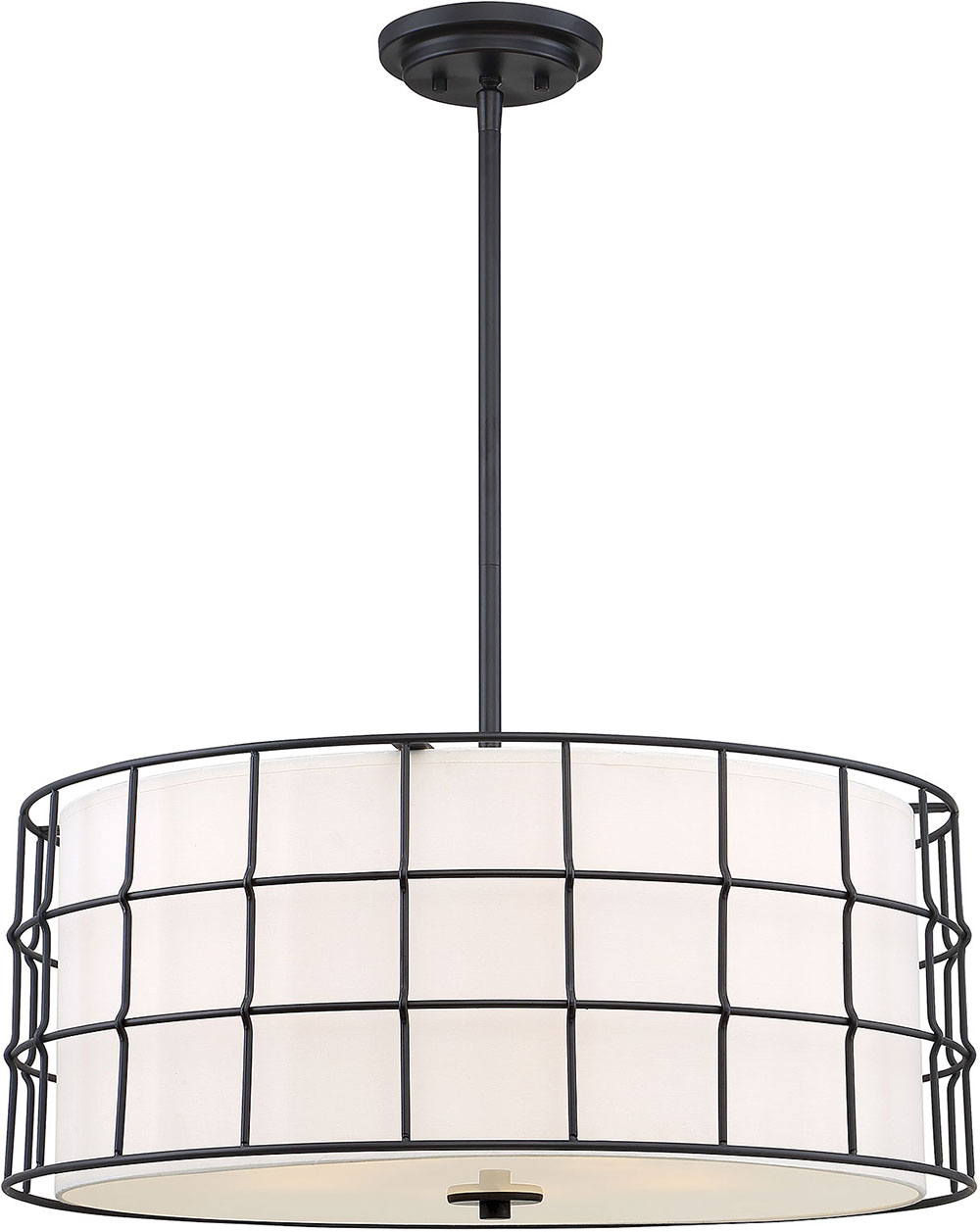 Most Up To Date Savoy House 7 8501 5 89 Hayden Contemporary Black Drum Pendant Lighting Fixture Throughout Hayden 5 Light Shaded Chandeliers (View 13 of 20)