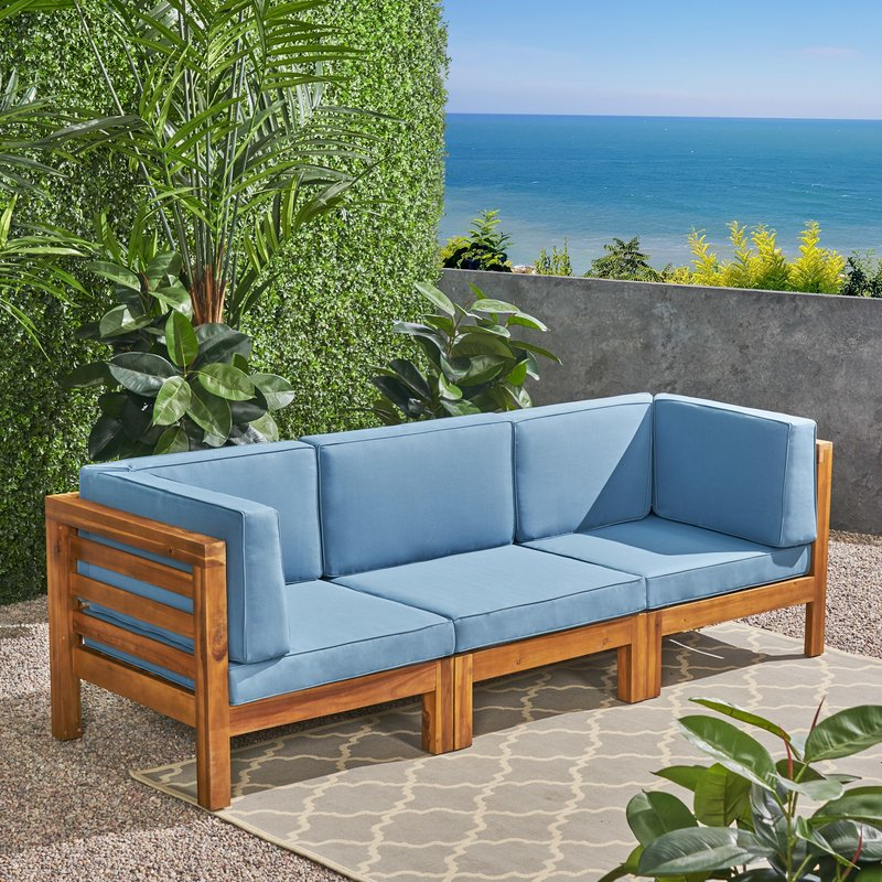 Most Up To Date Seaham Teak Patio Sofa With Cushions Throughout Seaham Patio Sectionals With Cushions (View 6 of 20)