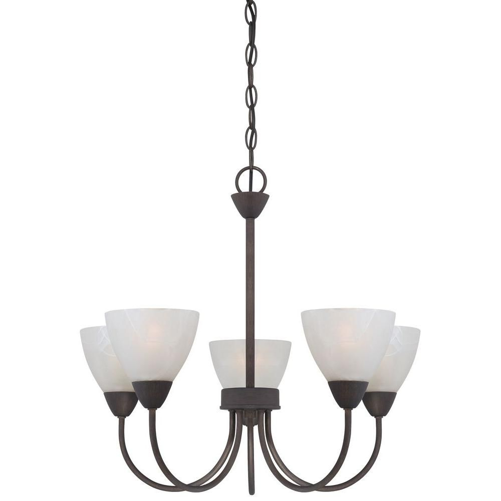 Most Up To Date Thomas Lighting Tia 5 Light Matte Nickel Chandelier Intended For Crofoot 5 Light Shaded Chandeliers (View 13 of 20)