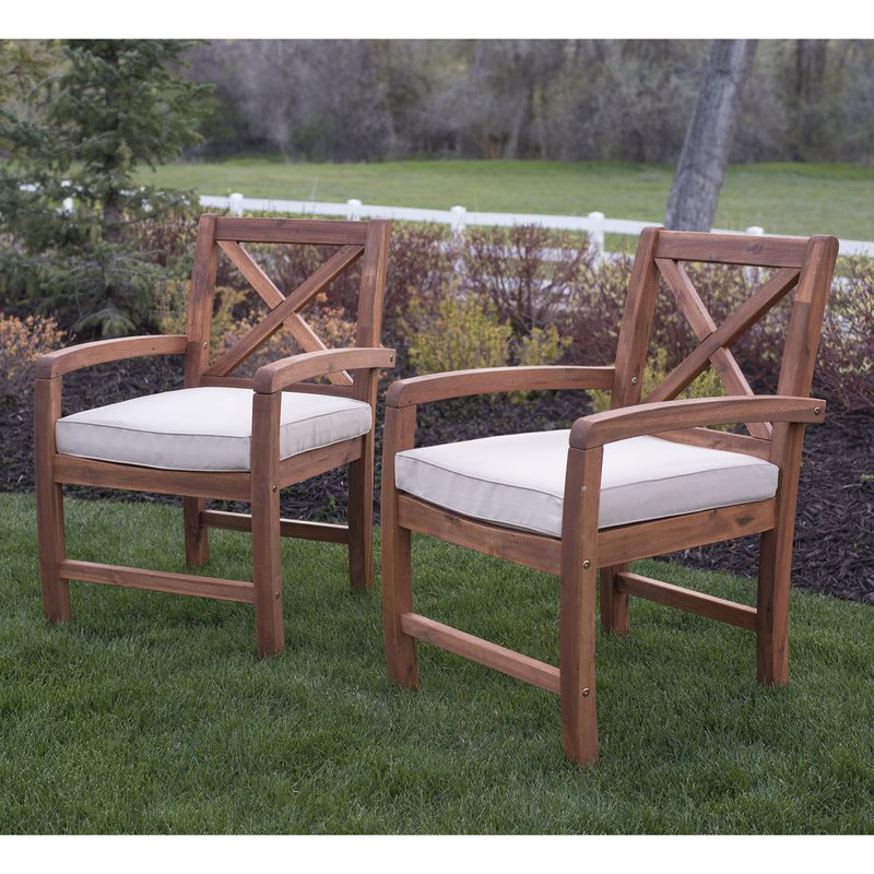 Most Up To Date Tim X Back Patio Loveseats With Cushions Throughout Tim X Back Acacia Patio Chairs With Cushions (View 9 of 20)