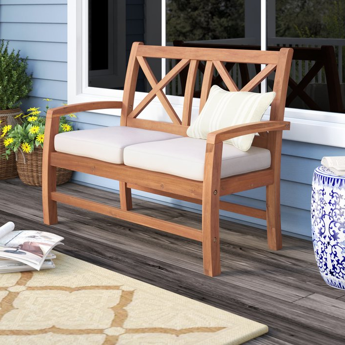 Featured Photo of Tim X Back Patio Loveseats With Cushions