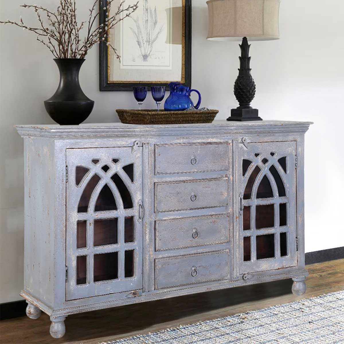 Mughal Rustic Mango Wood Glass Door 4 Drawer Large Sideboard Within Well Known Langsa Sideboards (View 16 of 20)