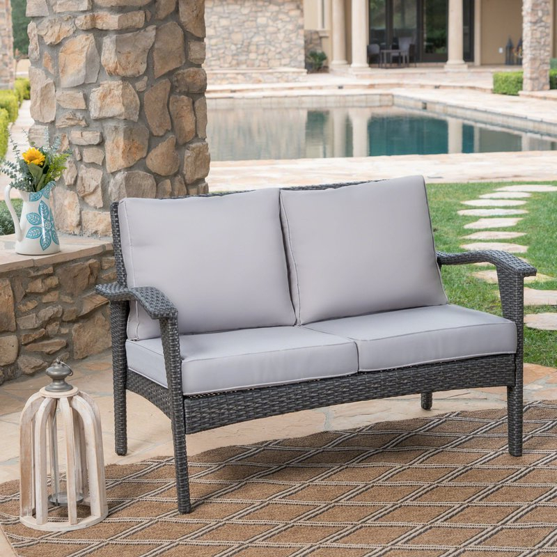 Mullenax Outdoor Loveseats With Cushions Regarding Newest Hagler Outdoor Loveseat With Cushions (View 8 of 20)