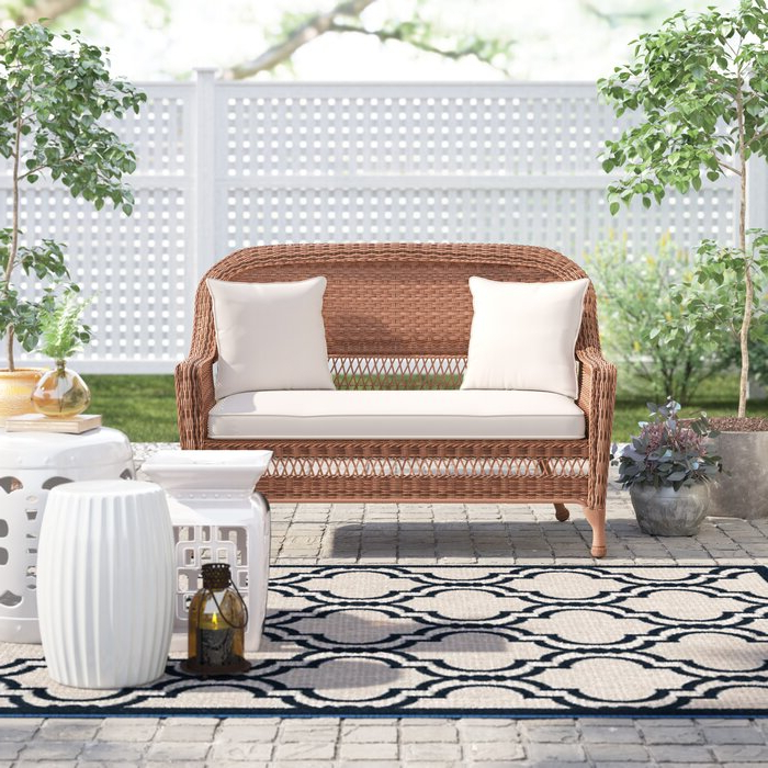 Mullenax Outdoor Loveseats With Cushions Throughout 2019 Alburg Loveseat With Cushions (View 14 of 20)
