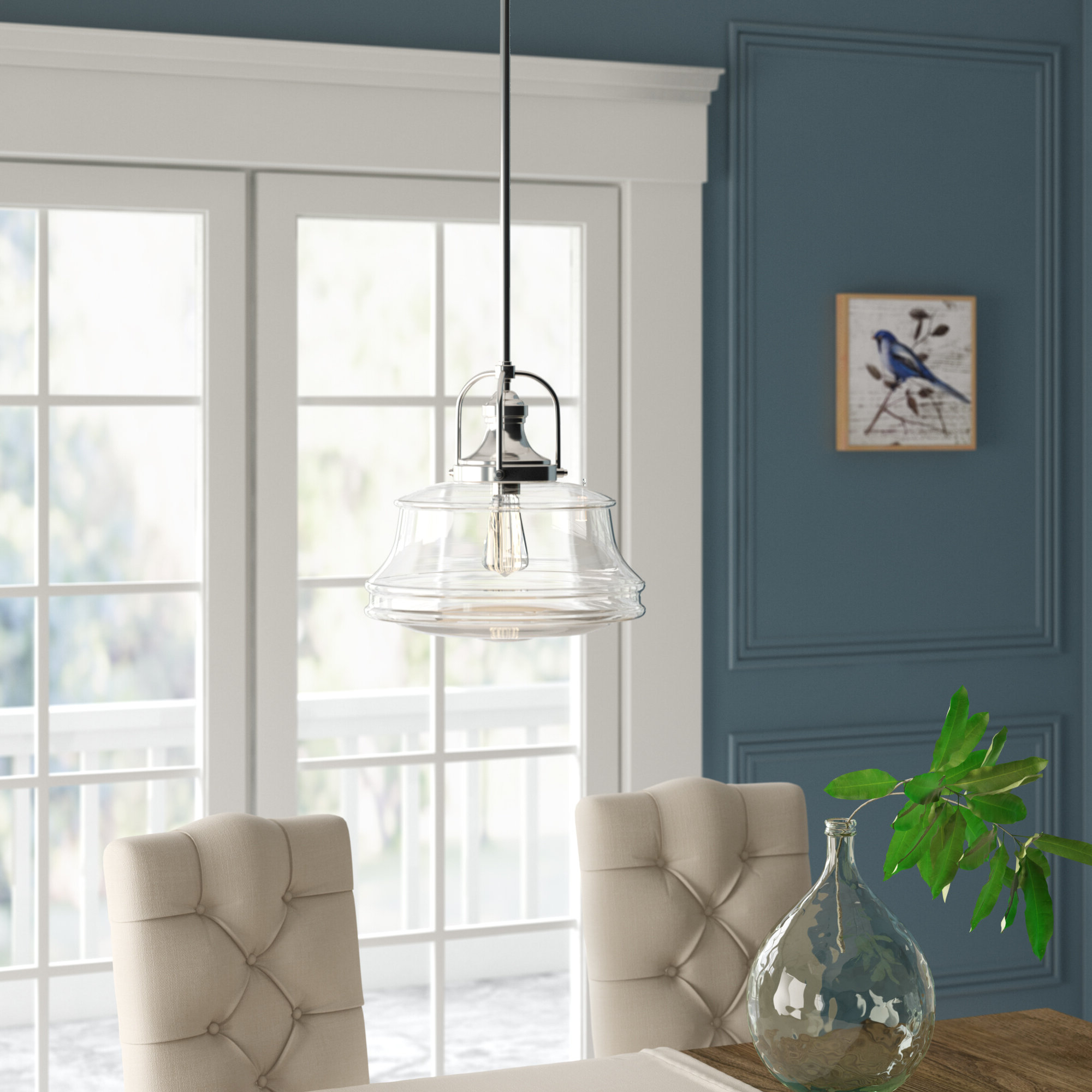 Nadine 1 Light Schoolhouse Pendant Pertaining To Preferred Nadine 1 Light Single Schoolhouse Pendants (Gallery 7 of 20)