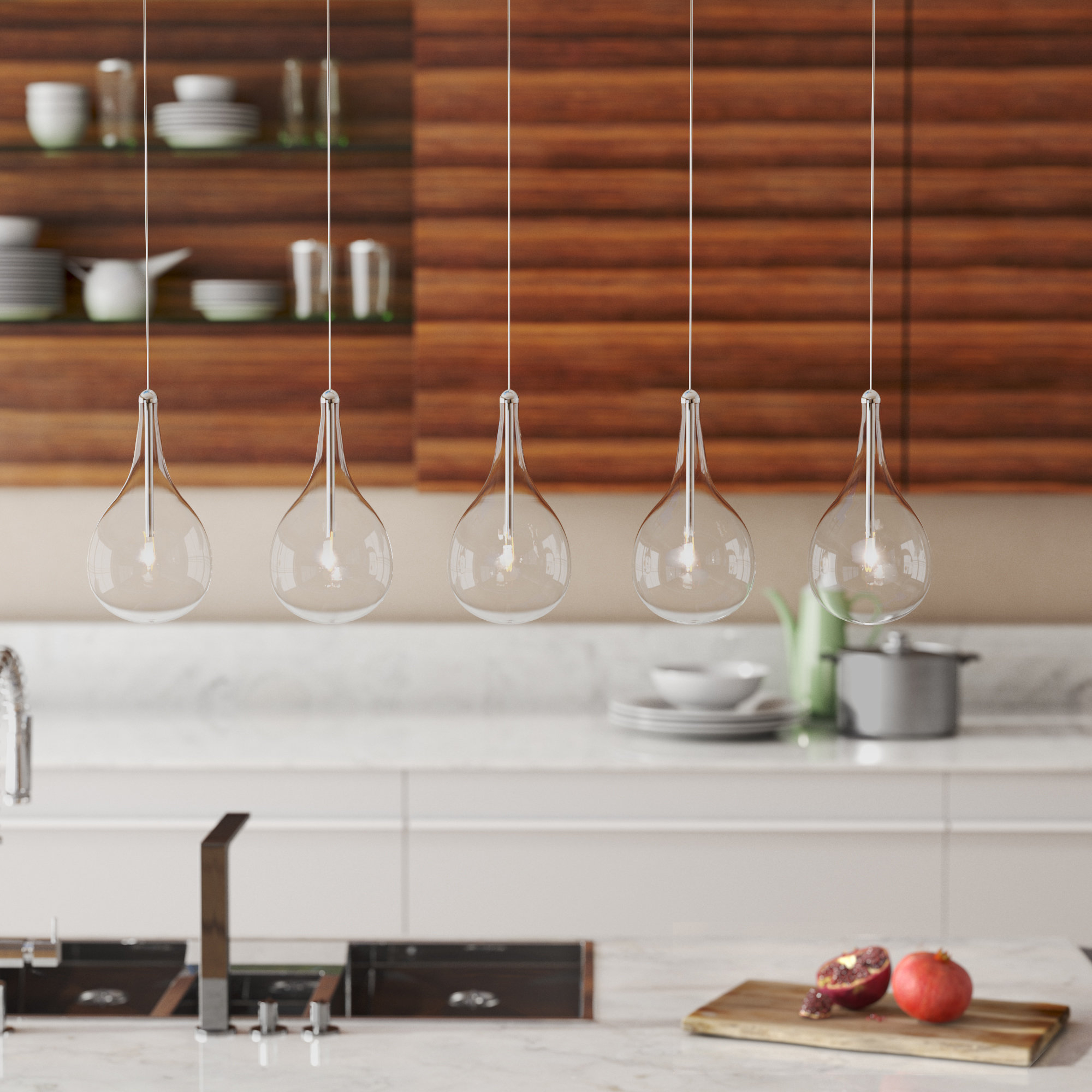 Neal 5 Light Kitchen Island Teardrop Pendant With Well Known Neal 5 Light Kitchen Island Teardrop Pendants (View 8 of 20)