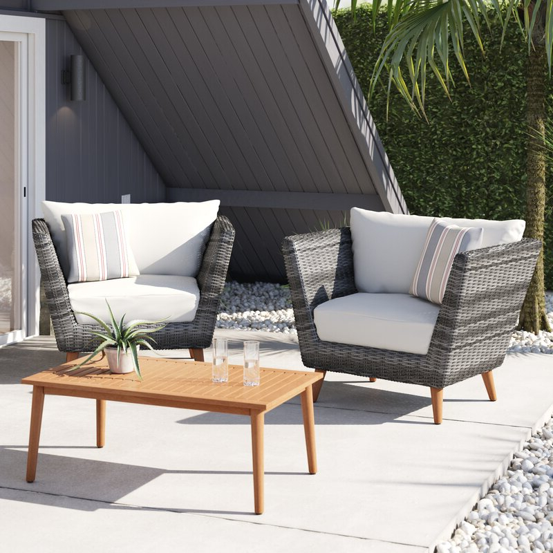 Newbury 3 Piece Conversation Set With Cushions In Latest Newbury Patio Sofas With Cushions (Gallery 10 of 20)