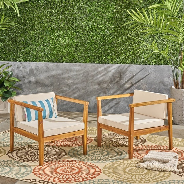 Newbury Patio Sofas With Cushions Inside 2019 Shop Newbury Outdoor Acacia Wood Club Chairs With Cushions (View 11 of 20)