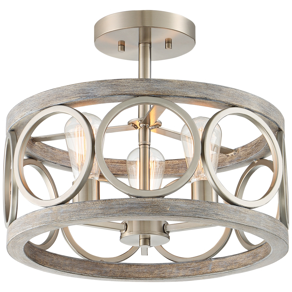 """Newent 3 Light Single Bowl Pendants With Most Current Salima 16"""" Wide Nickel And Gray Wood 3 Light Ceiling Light (View 17 of 20)"""