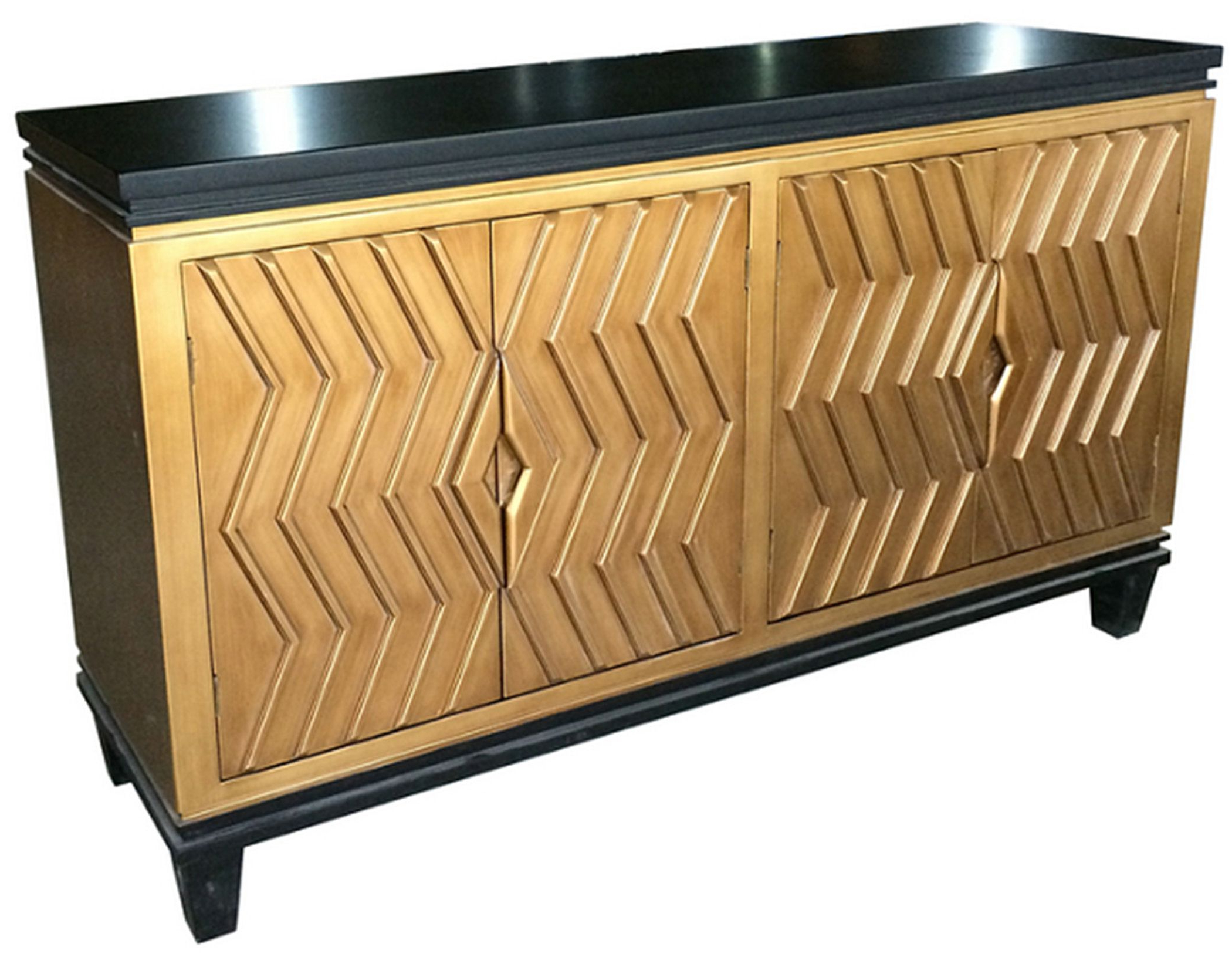 Newest Alessio Art Deco Sideboard 4 Doors, Black/gold Material: Mdf With Deville Russelle Sideboards (View 16 of 20)