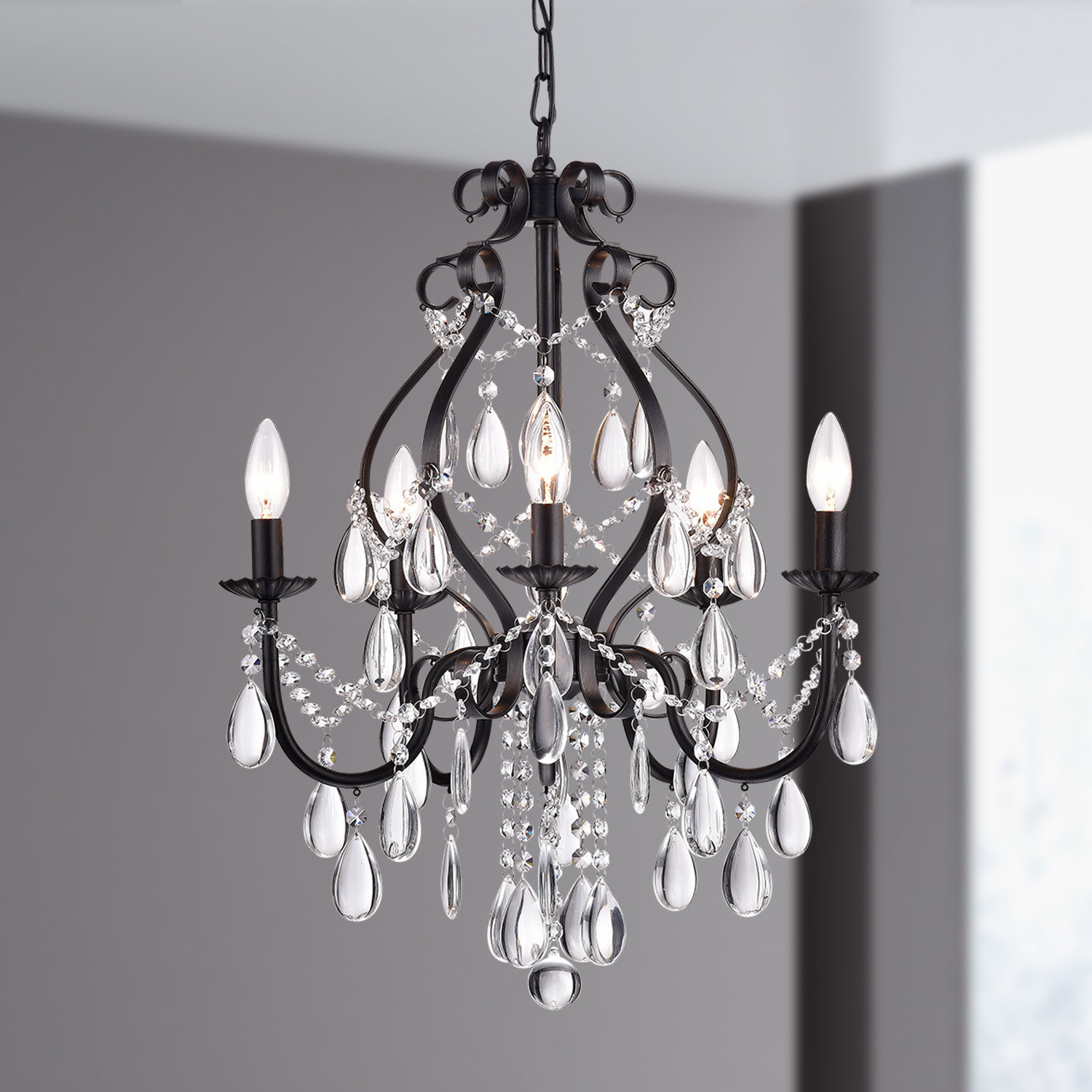 Newest Axl 5 Light Candle Style Chandelier Intended For Blanchette 5 Light Candle Style Chandeliers (Gallery 10 of 20)