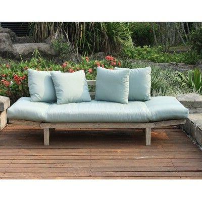 Newest Beal Patio Daybeds With Cushions With Regard To Westlake Convertible Sofa Daybed With Cushion – Teal (View 14 of 20)