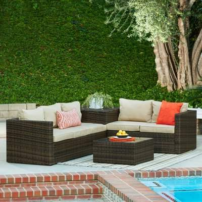 Newest Brayden Studio Armbruster 4 Piece Sectional Set With Cushions Brayden Studio With Hursey Patio Sectionals (View 15 of 20)