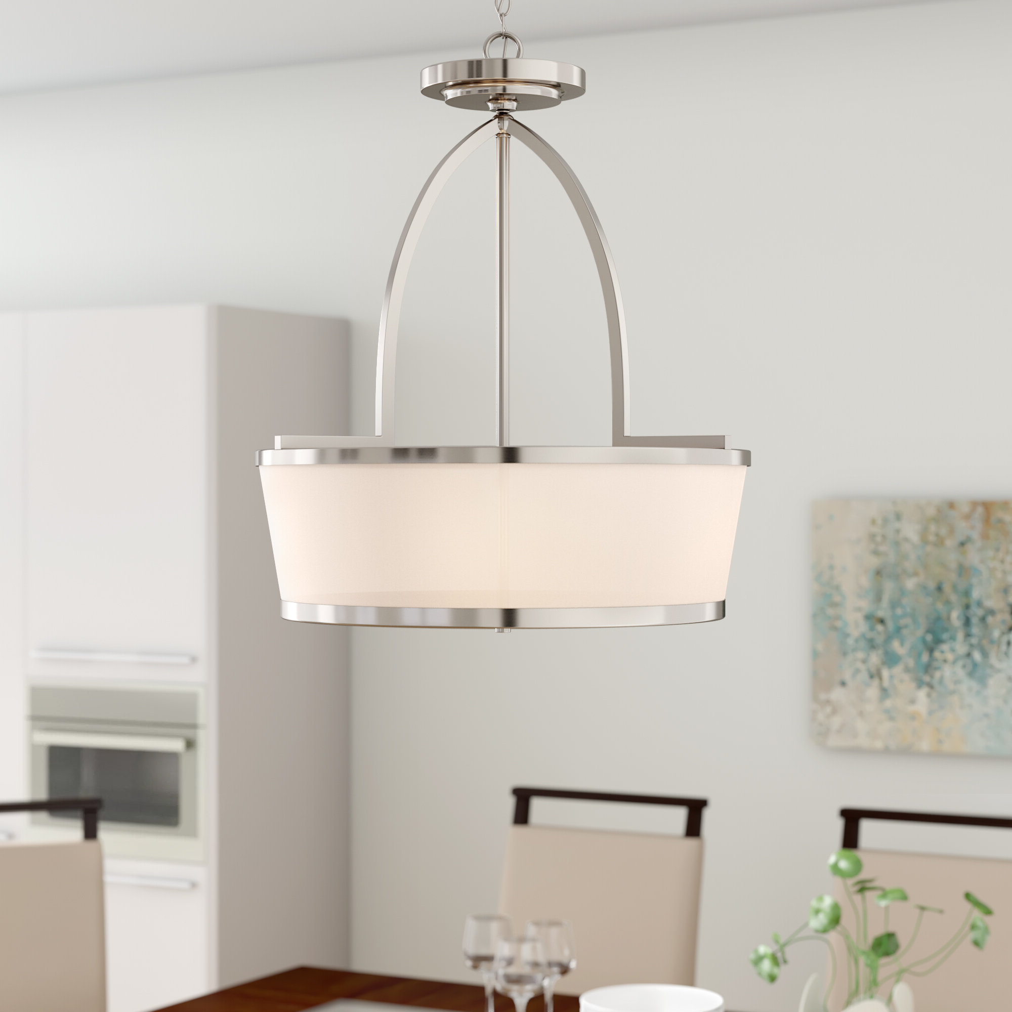 Newest Burslem 3 Light Single Drum Pendants Within Camacho 3 Light Single Drum Pendant (View 6 of 20)