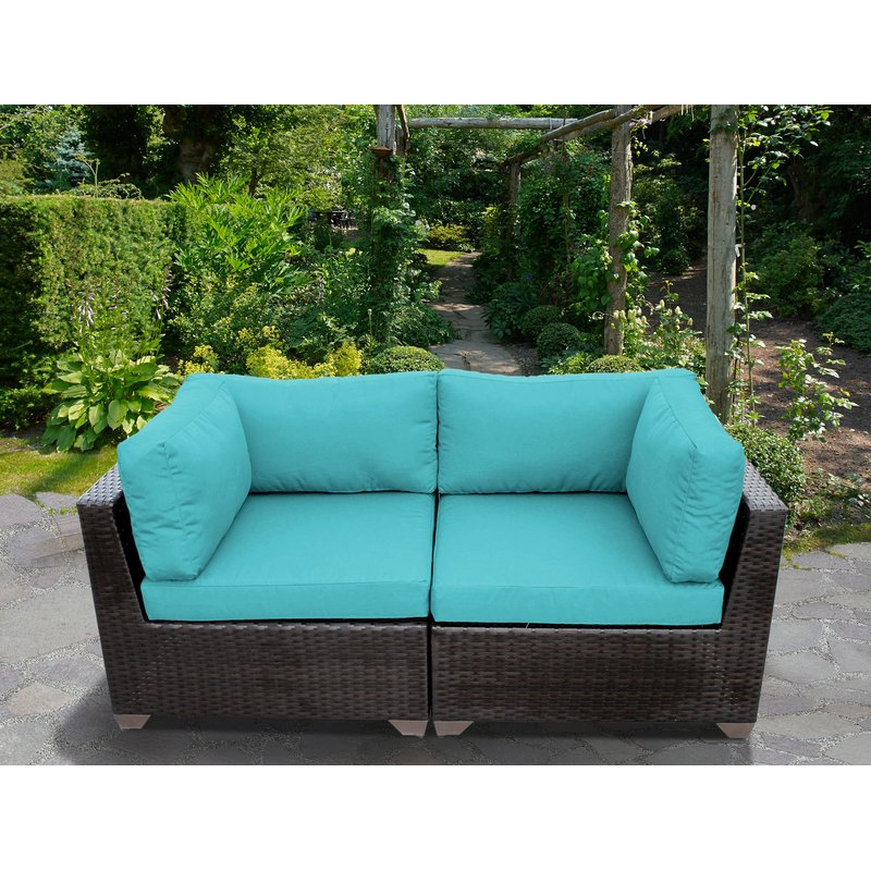 Newest Camak Patio Loveseat With Cushions In Camak Patio Sofas With Cushions (View 13 of 20)