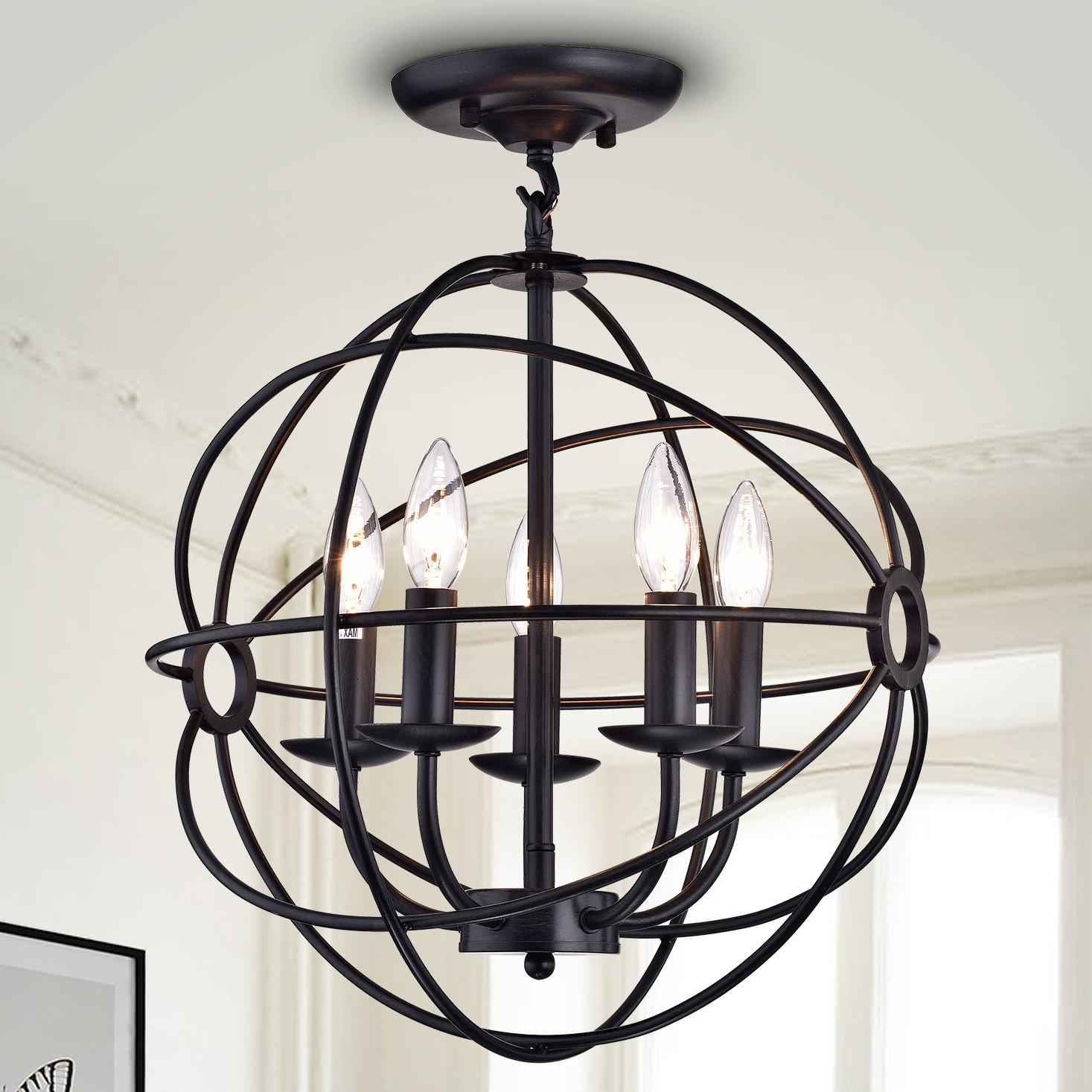 Newest Cavanagh 4 Light Geometric Chandeliers Inside 5 Light Globe Chandelier (Gallery 15 of 20)