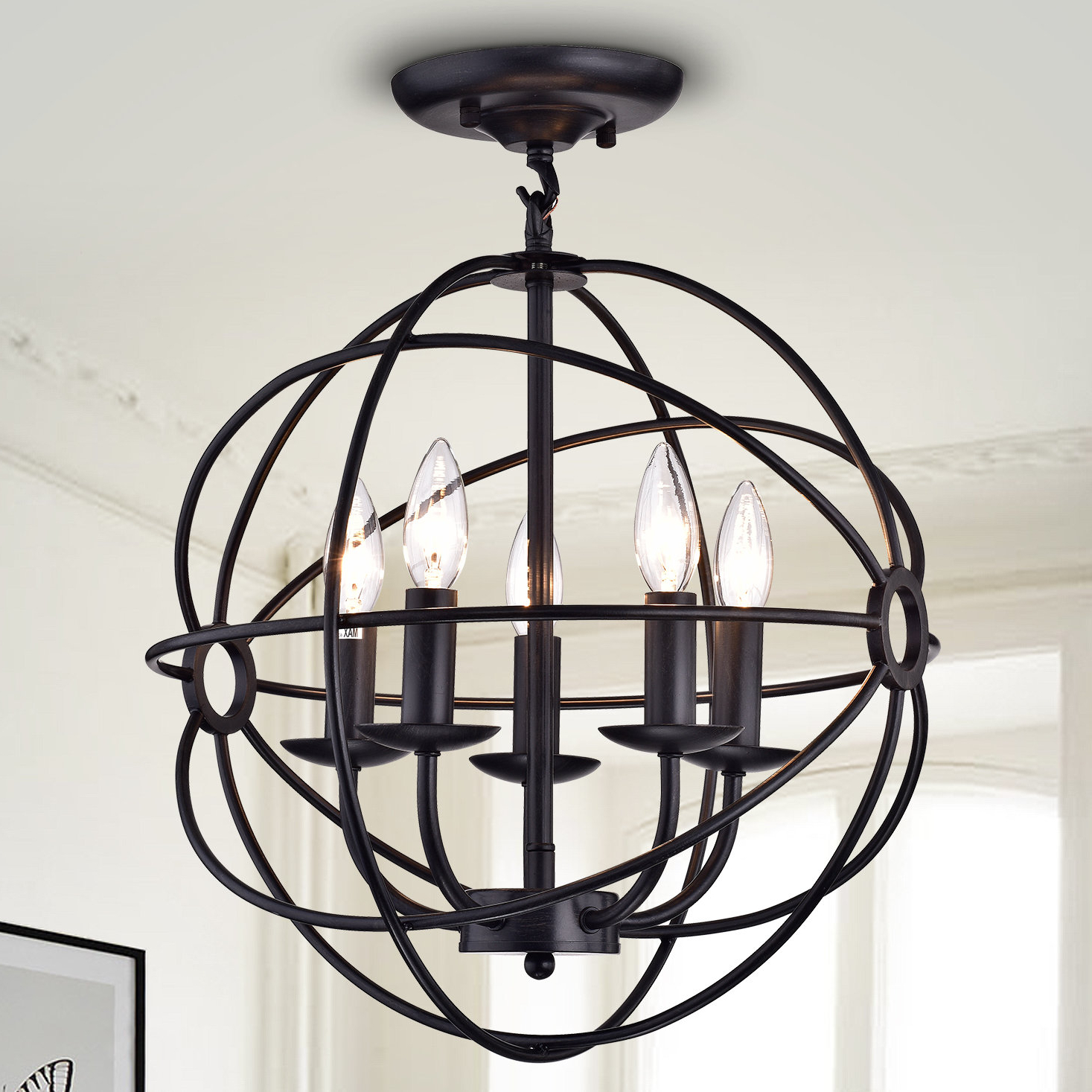 Newest Cavanagh 4 Light Geometric Chandeliers Inside 5 Light Globe Chandelier (View 10 of 20)