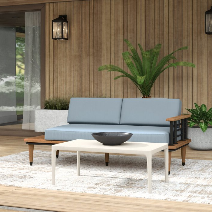 Newest Clary Teak Lounge Patio Daybeds With Cushion Within Clary Teak Lounge Patio Daybed With Cushion (View 17 of 20)
