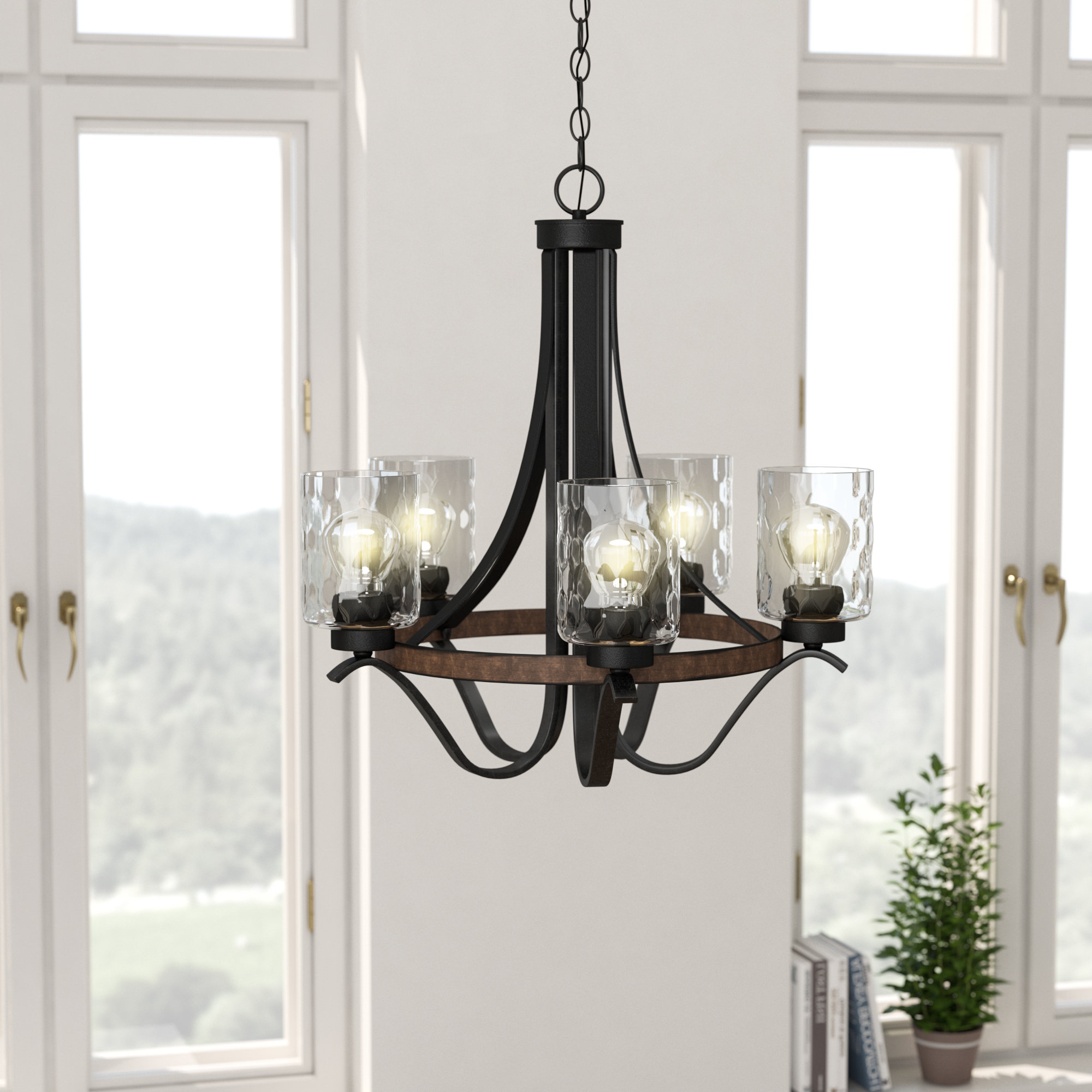 Newest Crofoot 5 Light Shaded Chandeliers Inside Laurel Foundry Modern Farmhouse Sabo Indoor 5 Light Shaded Chandelier (View 14 of 20)