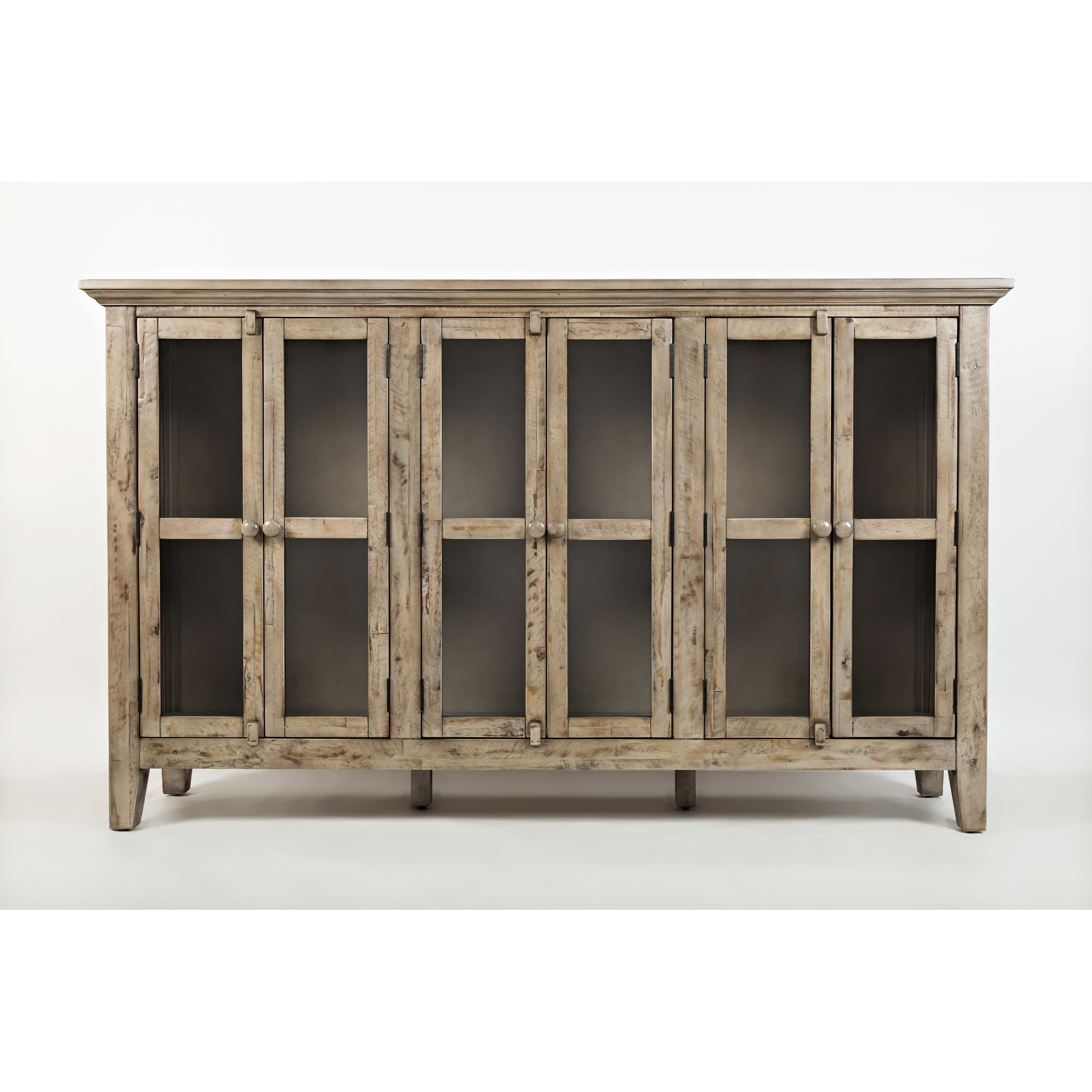 Newest Eau Claire 6 Door Accent Cabinets Inside Wooden Accent Cabinet With 6 Glass Doors, Weathered Gray (View 16 of 20)