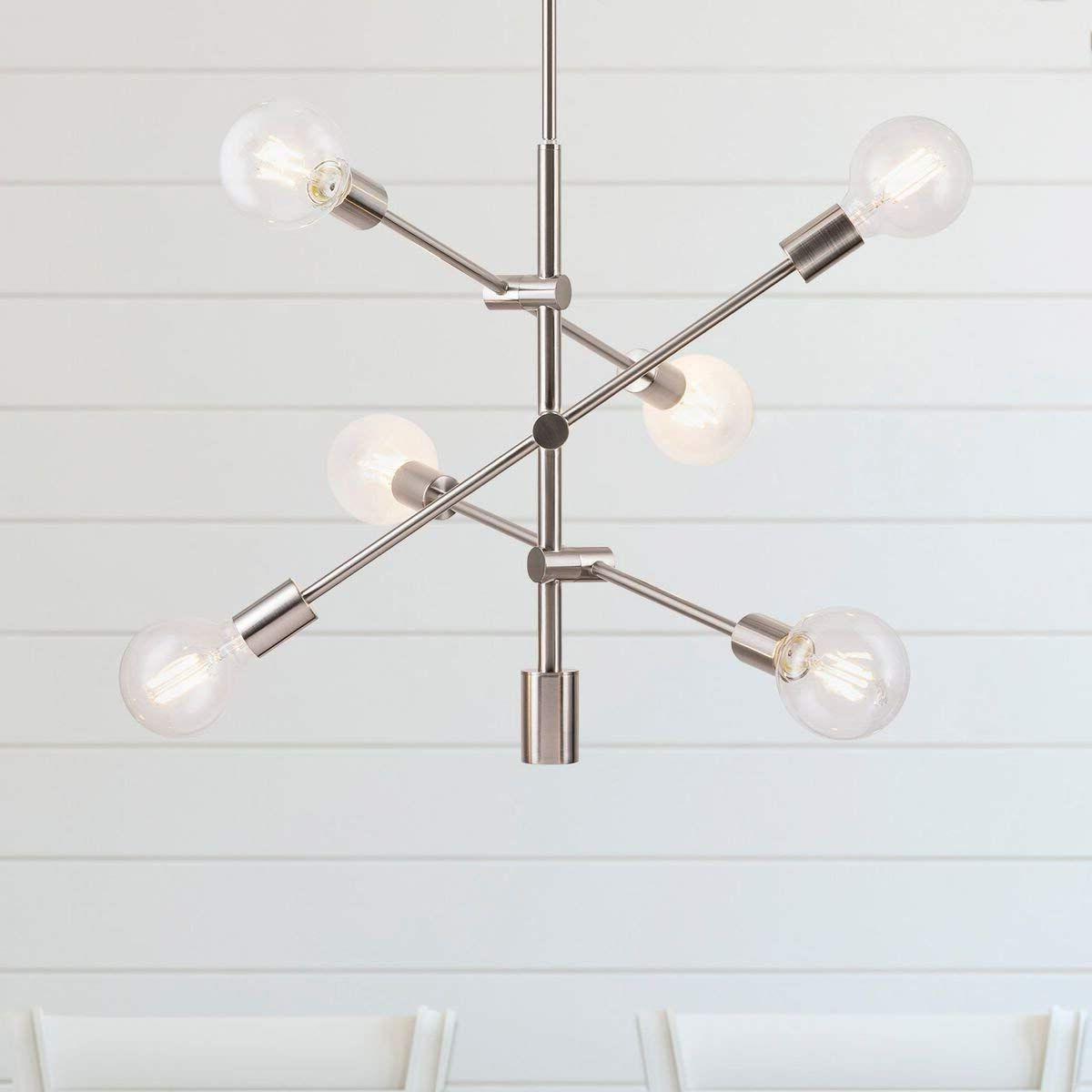 Newest Eladia 6 Light Sputnik Chandeliers For Marabella Led Sputnik Chandelier Light Fixture, Brushed (Gallery 17 of 20)