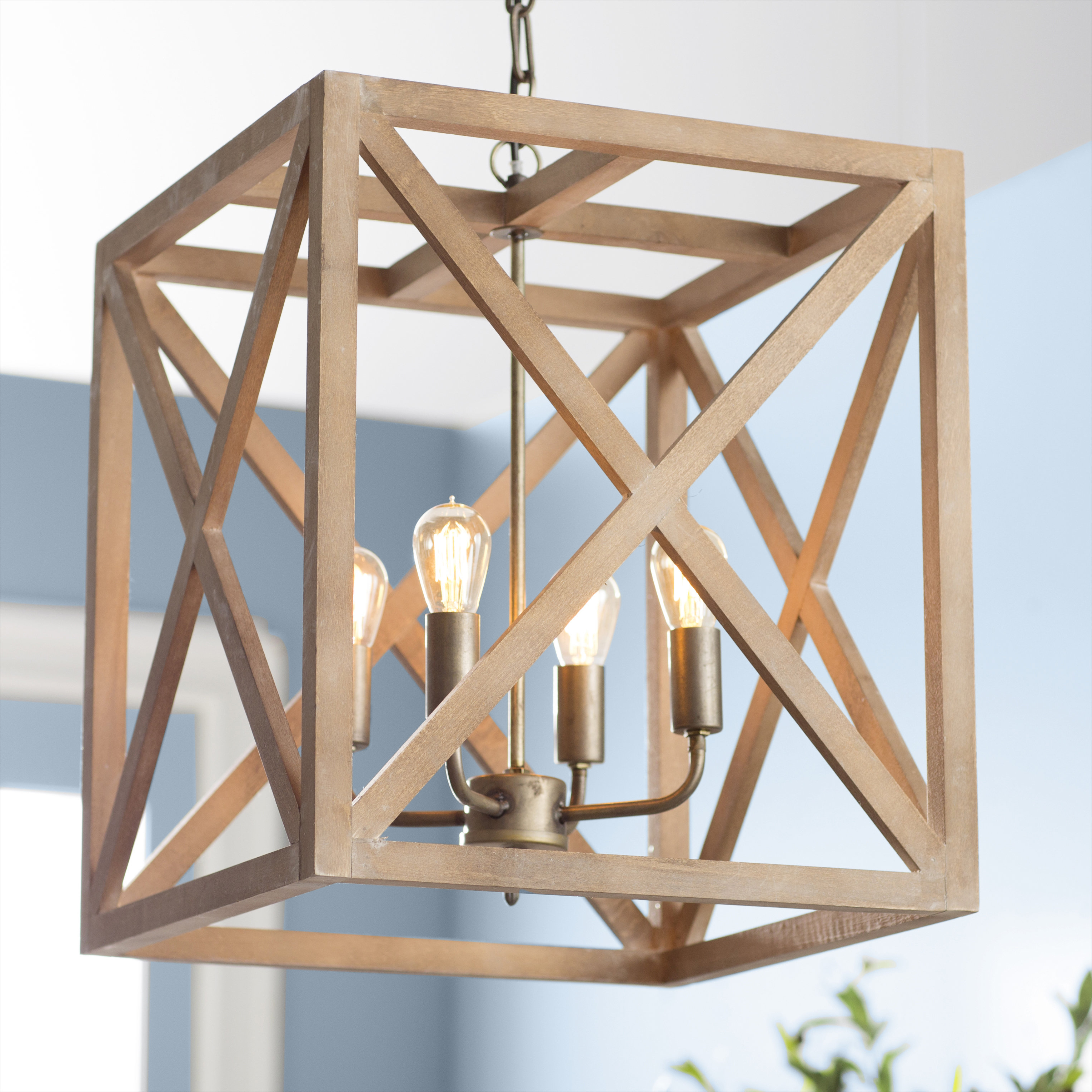 Newest Freeburg 4 Light Lantern Square / Rectangle Pendants With Laurel Foundry Modern Farmhouse William 4 Light Square/rectangle Pendant (Gallery 8 of 20)