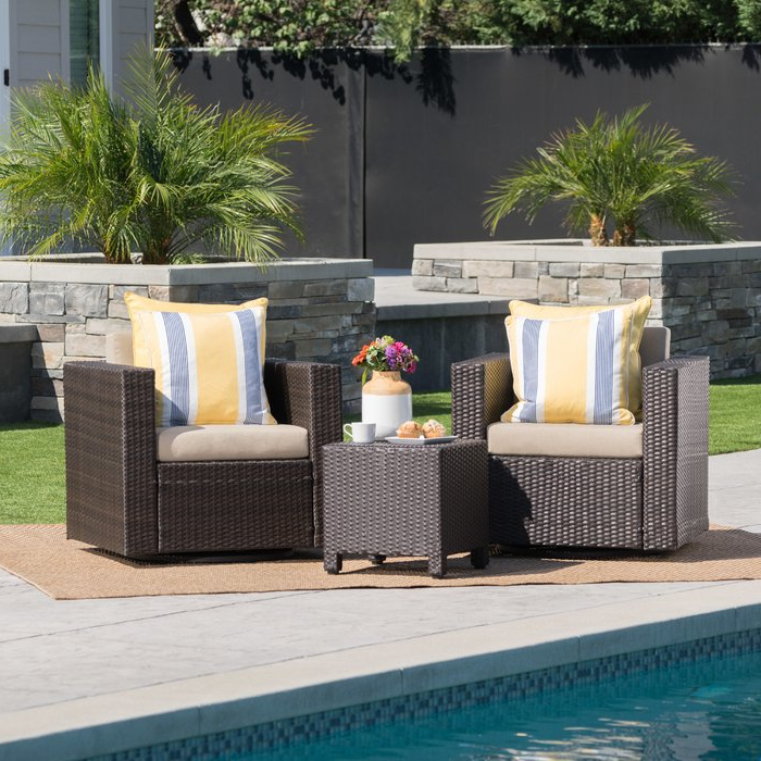 Newest Furst Patio Sofas With Cushion Regarding Furst 3 Piece Conversation Set With Cushions (View 17 of 20)