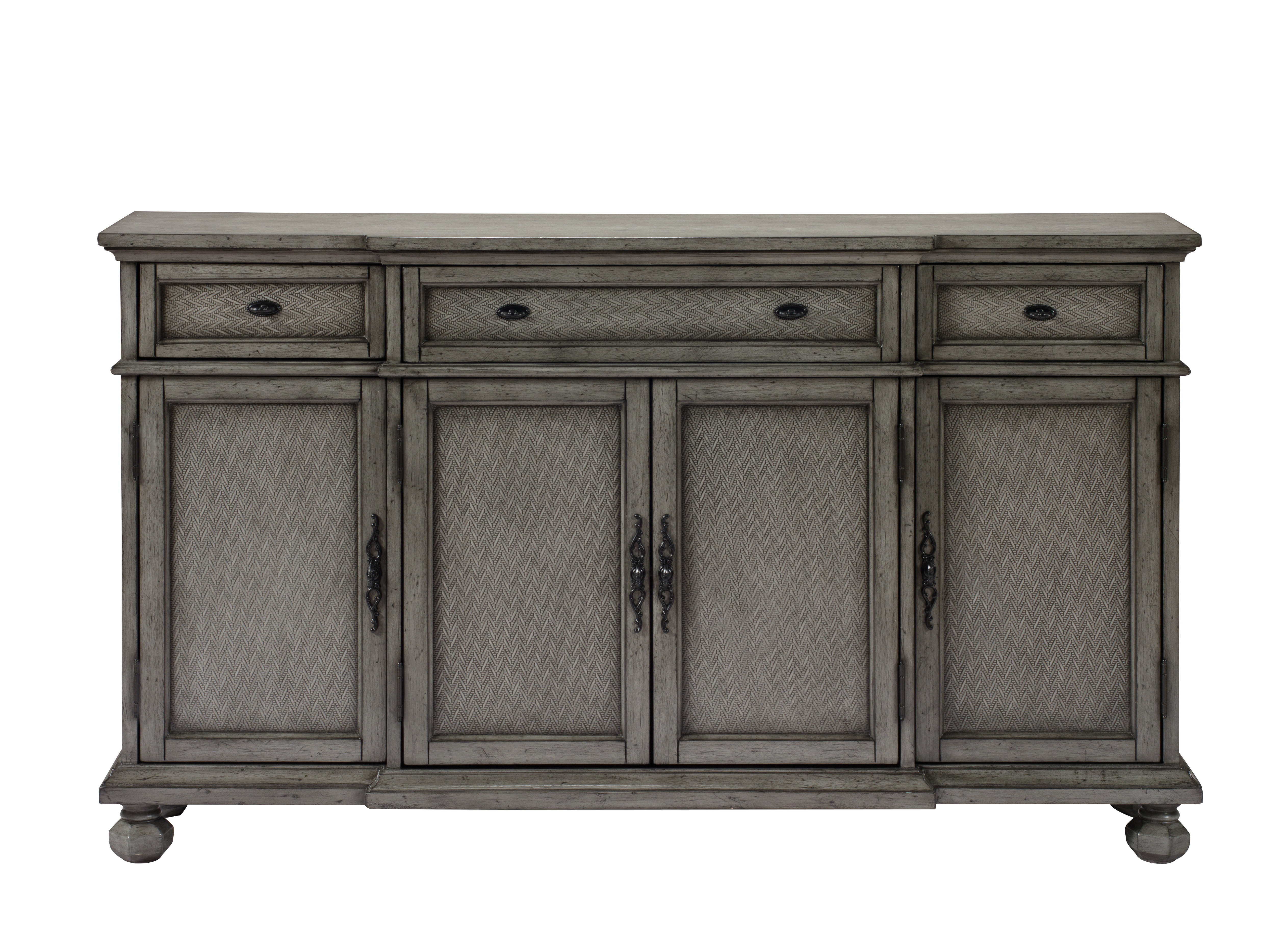 Newest Giulia 3 Drawer Credenza Regarding Ilyan Traditional Wood Sideboards (View 14 of 20)