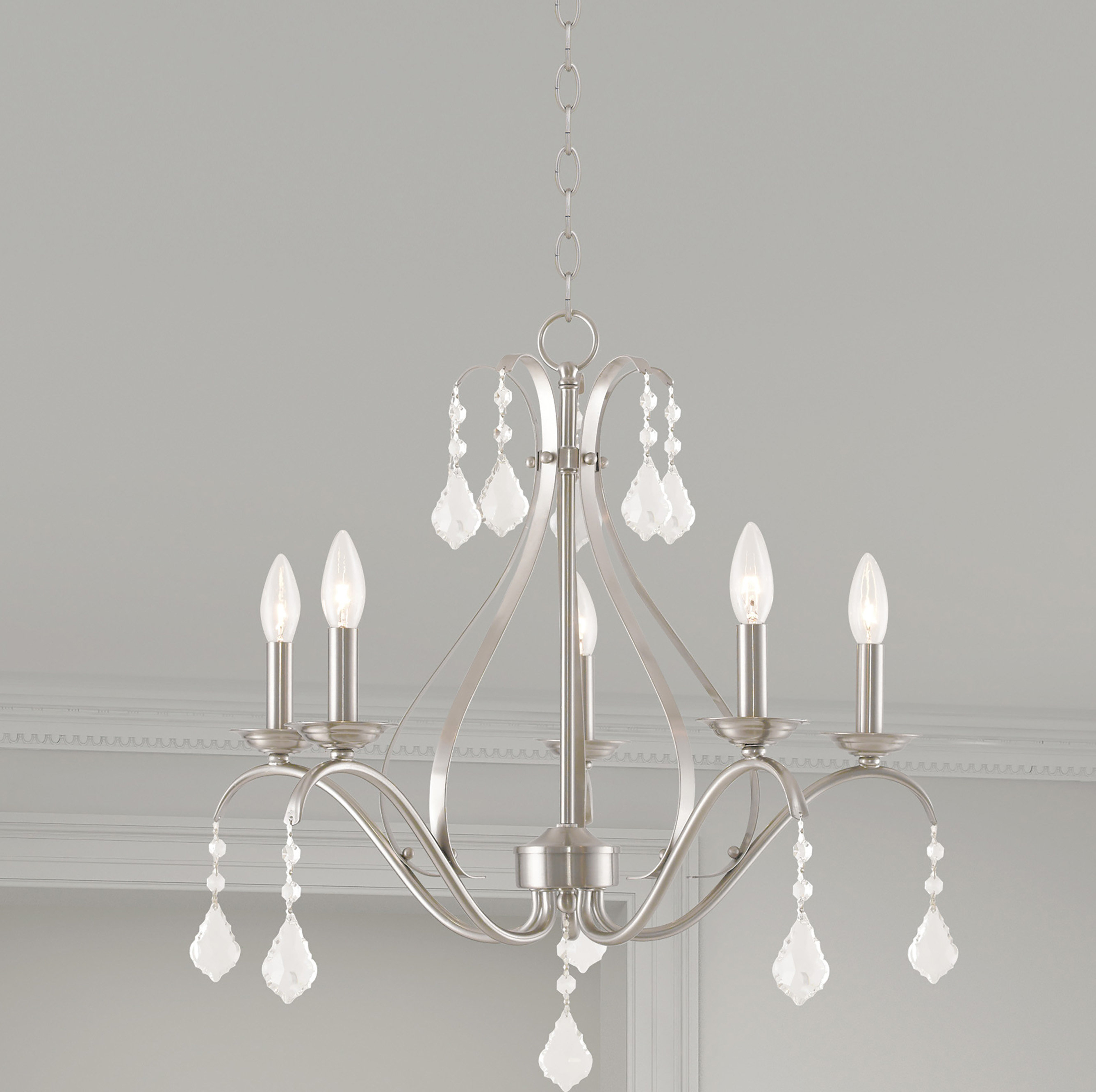 Newest Hesse 5 Light Candle Style Chandeliers Inside Aria 5 Light Candle Style Chandelier (View 16 of 20)