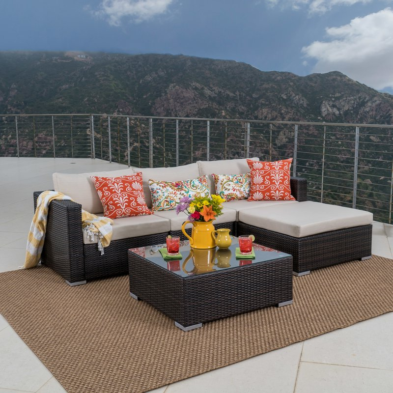 Newest Larsen Patio Sectionals With Cushions With Regard To Cabral 5 Piece Sectional Seating Group With Cushions (Gallery 15 of 20)