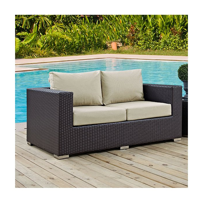 Newest Loggins Loveseats With Cushions Pertaining To Provencher Patio Loveseat With Cushions (View 9 of 20)