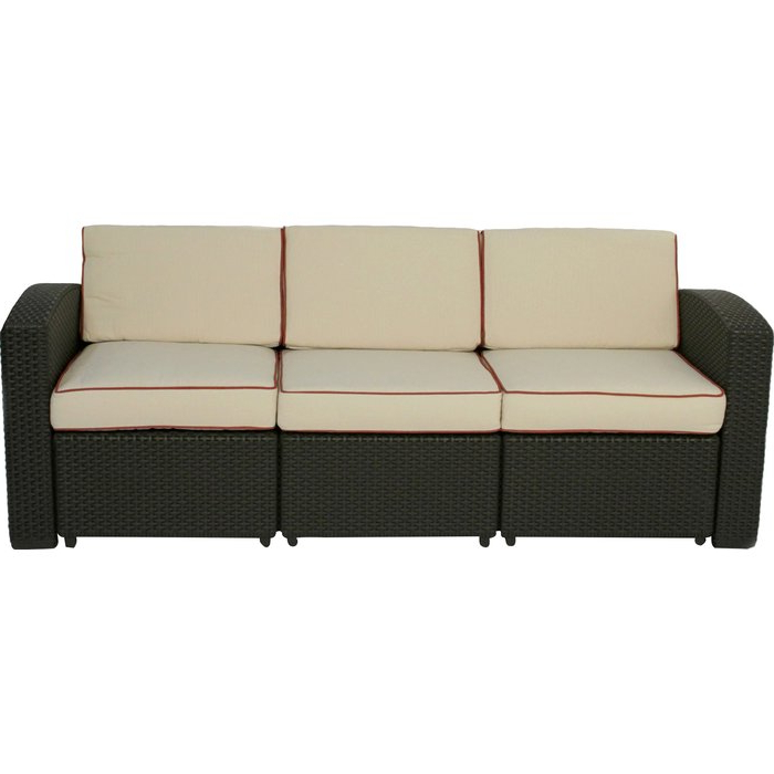Newest Loggins Patio Sofa With Cushions Intended For Katzer Patio Sofas With Cushions (View 14 of 20)