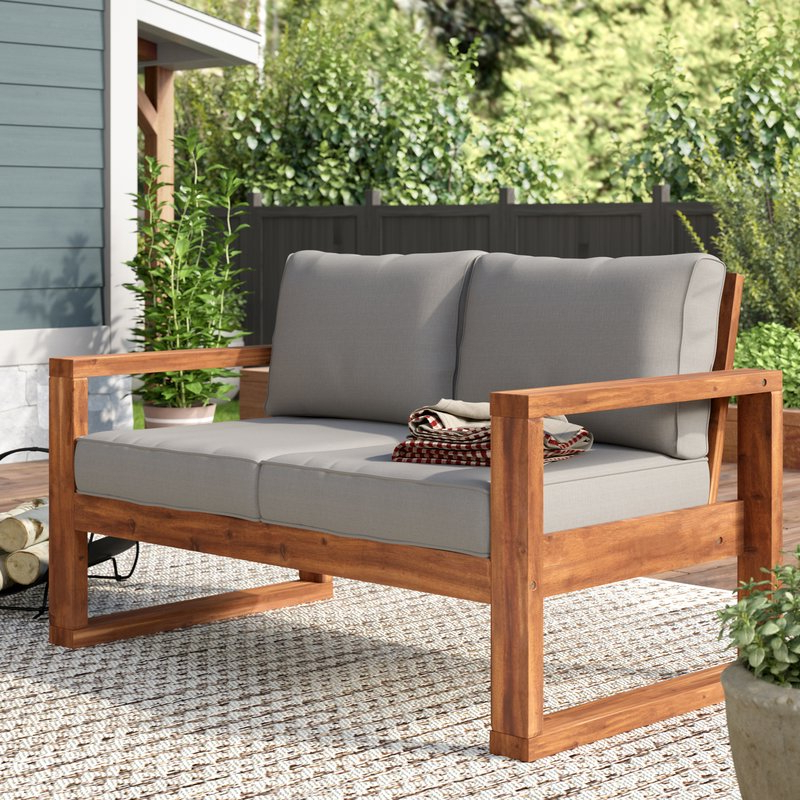Newest Lyall Loveseat With Cushion Pertaining To Laverton Loveseats With Cushions (View 14 of 20)