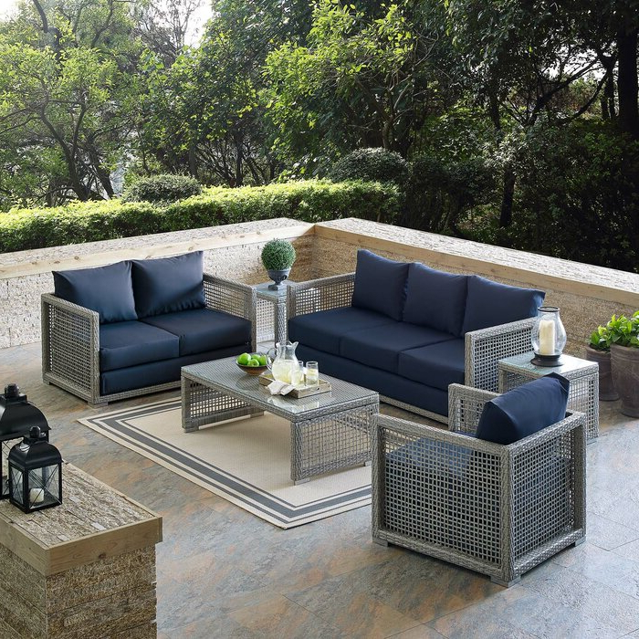 Newest Michal Patio Sofas With Cushions Within Cassiopeia 6 Piece Rattan Sofa Seating Group With Cushions (Gallery 18 of 20)
