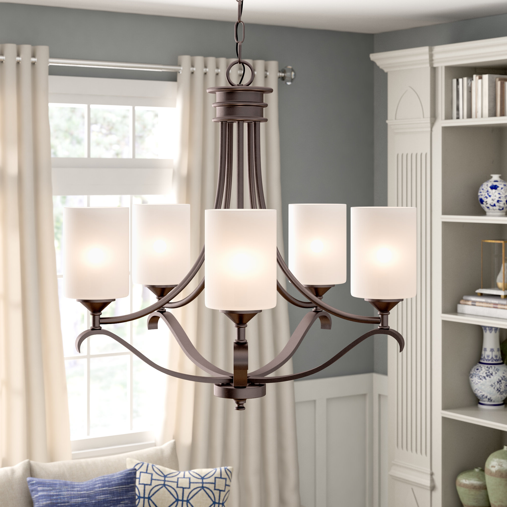 Newest Newent 5 Light Shaded Chandeliers Intended For Suki 5 Light Shaded Chandelier (View 13 of 20)