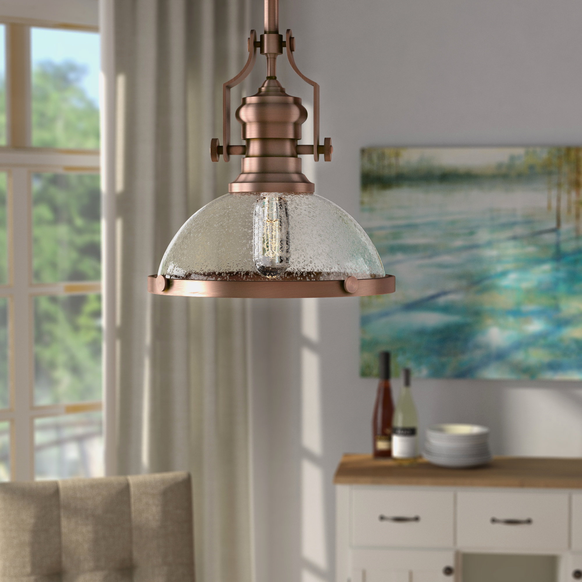 Newest Proctor 1 Light Bowl Pendants Regarding Breakwater Bay Priston 1 Light Single Dome Pendant & Reviews (View 7 of 20)
