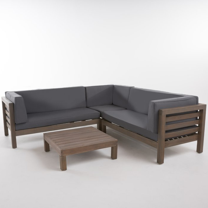 Newest Seaham Patio Sectionals With Cushions Intended For Seaham 4 Piece Sectional Seating Group With Cushions (View 7 of 20)